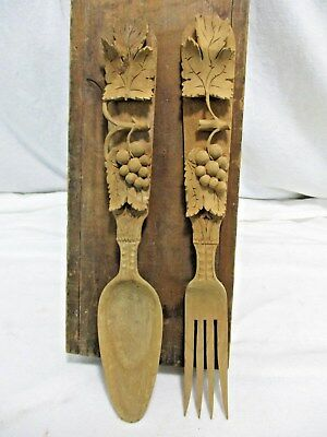 Rare Antique Vintage Carved Wood Carving Fruit Ornate Spoon + Fork
