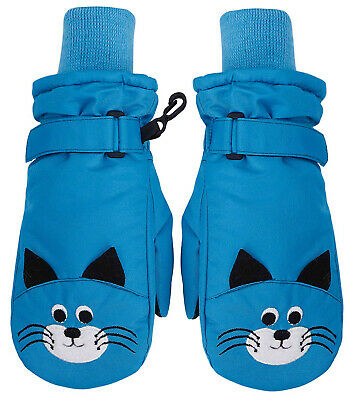 Kids Girls Boys Animal Print Winter Ski Gloves Waterproof Warm Ski Snow Mittens