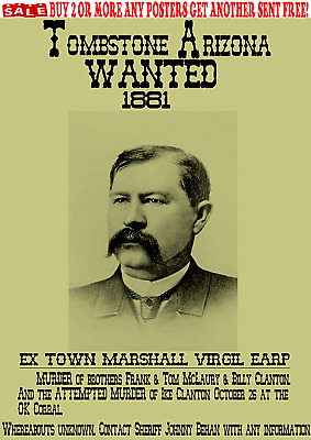 Old West Wanted Posters Earp Wyatt Virgil Tombstone Ok Reward Outlaw Ringo Doc