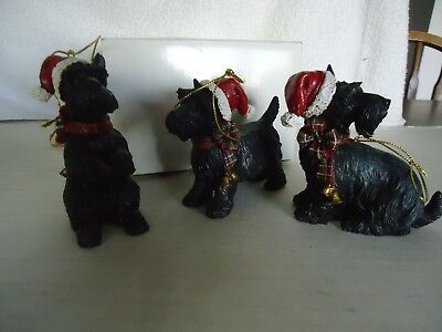"3pc lot black with red hat Scottie dog Christmas ornament 3"" holiday"