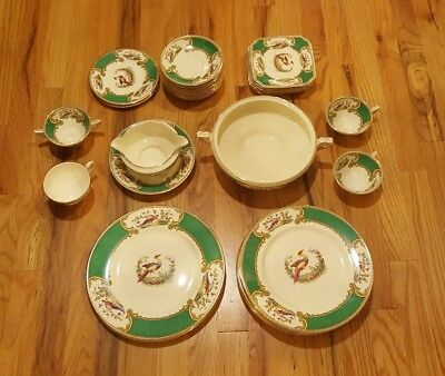 38 Pieces MYOTT STAFFORDSHIRE ENGLAND GREEN CHELSEA BIRD LOT