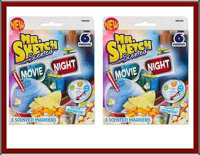 New Lot 2 Set Mr. Sketch Movie Night Scented Washable Markers Chisel Tip 6 Color
