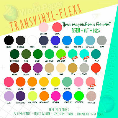 "Heat Transfer Vinyl Assorted Colors 15 Pack of 12""x10"" Sheets"