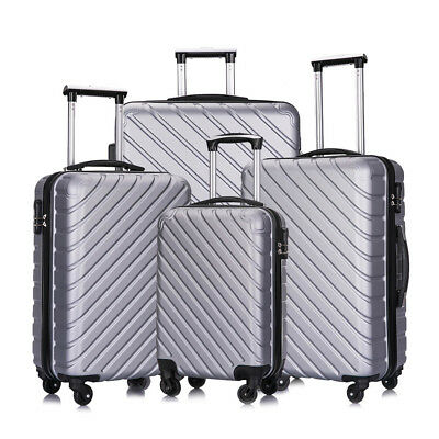 4PCS Luggage Set Hard Shell Travel ABS Bag Trolley Spinner Business Case Gray