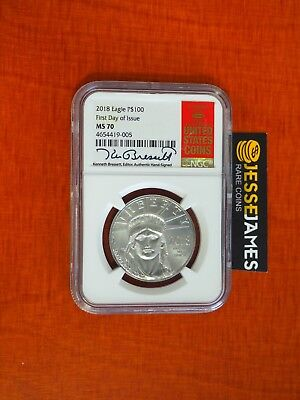 2018 $100 Platinum Eagle Ngc Ms70 Ken Bressett Signed First Day Of Issue Redbook