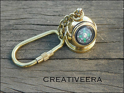 Solid Brass Compass Key Chain Nautical Vintage Antique Maritime Collec Key Ring