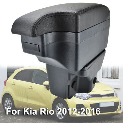 Black Leather New Content Armrest Fit For Kia Rio 2012 - 2016 UB 2013