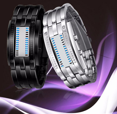 Future Technology Binary Watch Stainless Steel Date Digital LED Unisex - NEW