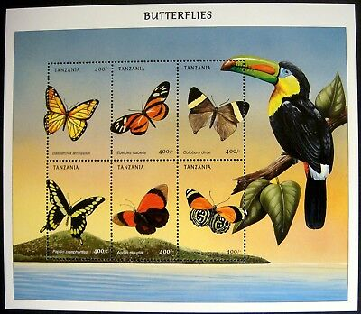 1999 Mnh Tanzania Butterfly Stamps Sheet Butterflies Moth Insect Bug Toucan Bird