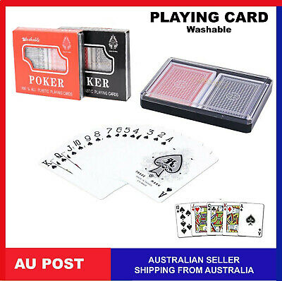 Poker Playing Cards Twin Deck 100% Plastic Washable Red Blue PlayingCards