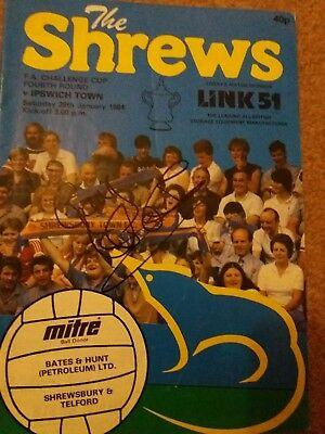 Shrewsbury Town V Ipswich Fa Cup Signed By Goal Of Season Gary Hackett To Cover