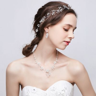70cm Long Crystal Pearl Bridal Tiara Crown Hairband Headpiece Wedding Jewelry