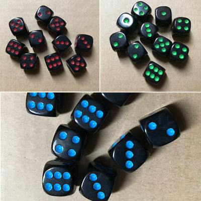 10PCS/Set 16mm Dice Opaque Standard D6 Six Sided Acrylic For RPG Gaming HOT