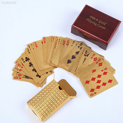 7F1C 24K Gold Foil Plated Table Game Grid Pattern Playing Cards Nice Wood Box