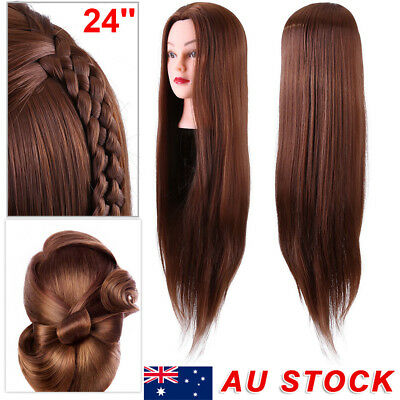"24"" 30% Human Hair Practice Hairdressing Training Head Mannequin Doll + Clamp"