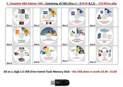E. Complete H&S Advisor Usb16gb-Discs1-9 *PLUS*B,C,D-Health and Safety Documents