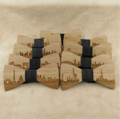 Wedding Bow Tie Wooden Butterfly City For Men's Suit Shirt Necktie  Accessory