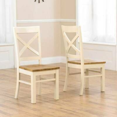 Farmhouse painted Oak and Cream furniture pair of dining chairs