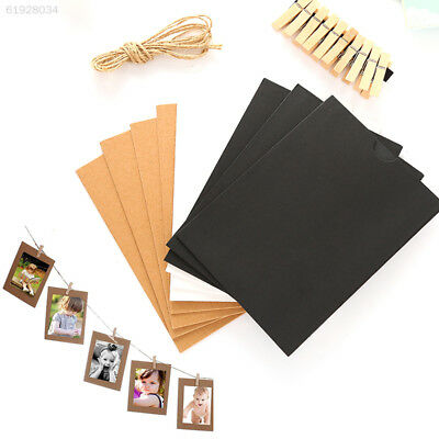 A960 10 Set Vintage Paper Photo Frame Wall Picture Hanging Rope Clip Creative