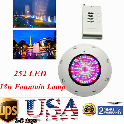 252 LED RGB Underwater Swimming Pool Light Spa Lamp 18W IP68+Remote Control USA