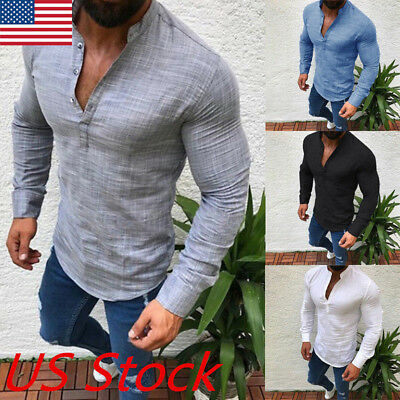 Fashion Men's Slim V Neck Long Sleeve Muscle Tee T-shirt Casual Fit Tops Blouse