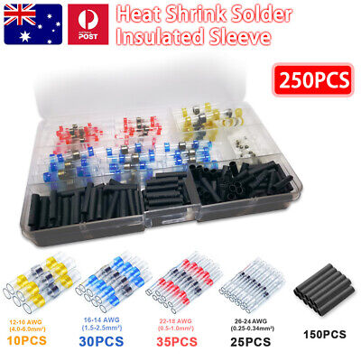 250PCS Solder Heat Shrink Insulated Sleeve Wire Connector Terminal Waterproof OZ