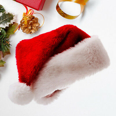 Plush High Quality  Red and White  Adult Santa's Hat for Christmas Party