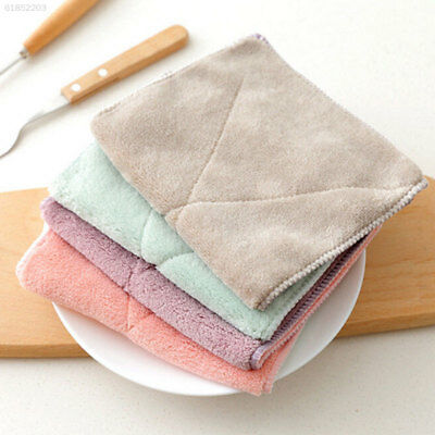 88B9 Rectangle Polyester Soft Double-Sided Towel Dishcloth Hotel Kitchen Cloth