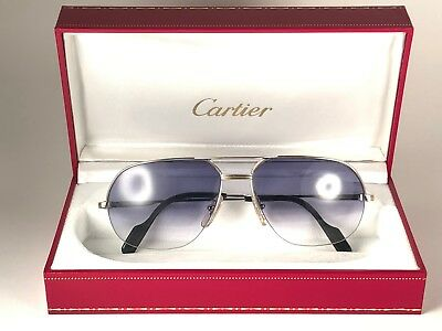 7efd4e8364b New Vintage Cartier Tank Orsay Platine Sunglasses 18K Heavy Gold Plated  France