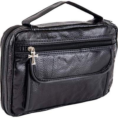 Italian Stone Design BLACK LEATHER BIBLE COVER SidePocket Book Case Cross Zipper
