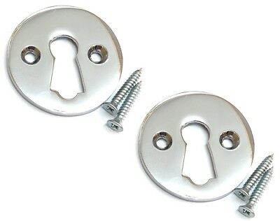 2x CHROME KEY ESCUTCHEON Round Front Main Door Keyhole Plate Lock Cover