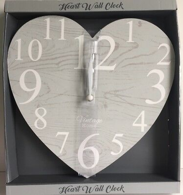 * NEW VINTAGE STYLE GREY WHITE WOOD EFFECT HEART shaped wall clock heart clock