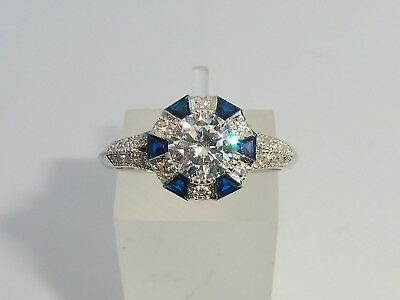 Ladies 925 Sterling Solid Silver Blue White Sapphire Art Deco Target Design Ring