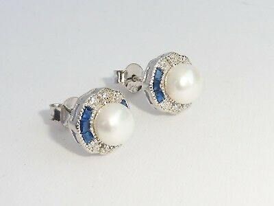 Ladies Art Deco Design 925 Sterling Silver Blue White Sapphire & Pearl  Earrings