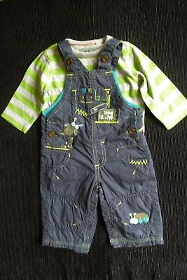 Baby clothes BOY 3-6m outfit green/grey LS top/dungarees brown fun insect C SHOP