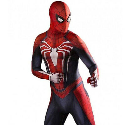 PS4 Spiderman Costume Adult And Kid Spandex Lycra Zentai 3D Bodysuit Cosplay US!