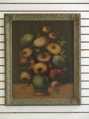 F38744EC: Vintage Hand Oil Painting On Board ~ Floral Still Life