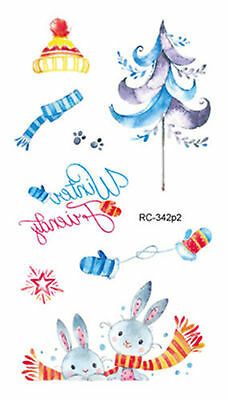 50a4c0cb9 Creative Xmas Tree and Rabbit Mini Temporary Tattoos Body Art Stickers 105*60  mm