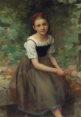 ZWPT493 hand-painted long dress little girl in park art oil painting on canvas