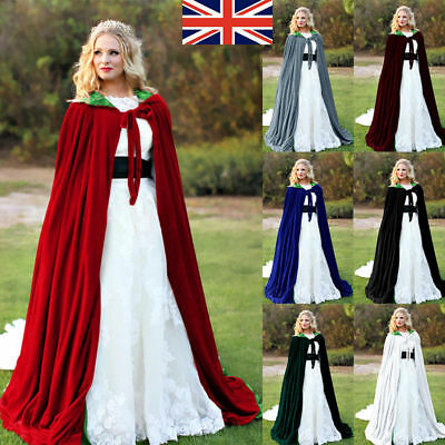Thick material With lining Velvet Halloween Costume Hooded Cloak Cape Wicca Robe