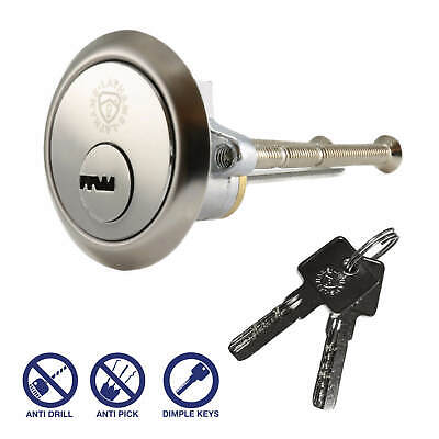 Security Rim Cylinder Door Lock Polished Chrome Finish, Yale ERA Latch fitment