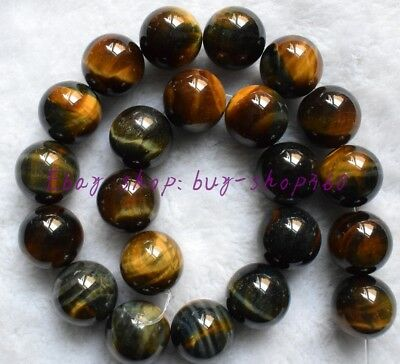 "10mm African Roar Round Yellow Blue Tiger's Eye Gemstone Loose Beads 15"" AAA"