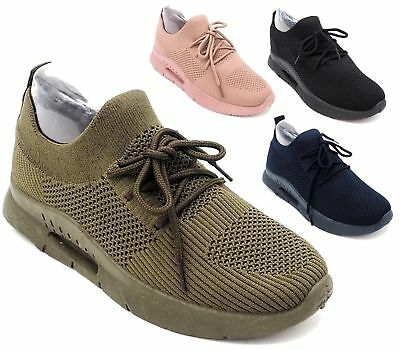 Womens Ladies Girls Running Trainers Fitness Gym Sports Comfy Lace Up Shoes Size
