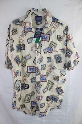 Vintage 80s STAMPS NOS New Wave SURF ELECTRO BUTTON UP SHIRT Indie Grunge Retro