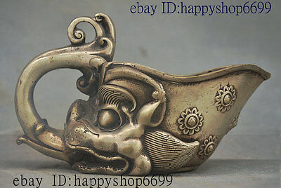 Collect Ancient Chinese Silver Dragon Beast Head Shape Fengshui Wealth Horn Cup