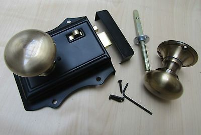 CLASSIC RETRO VINTAGE DOOR KNOB HANDLES SET olde latch + Victorian AB rim knobs