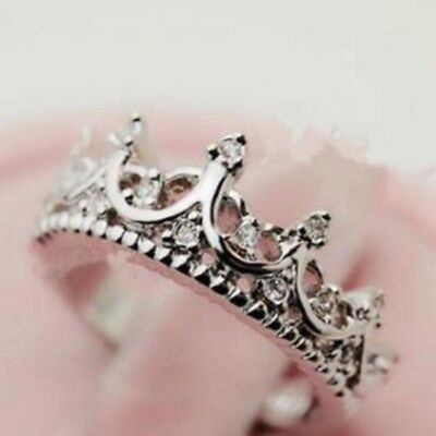 Fashion Women Girls Silver Rhinestone Princess Crown Ring Gift US Size 6 7 8 9