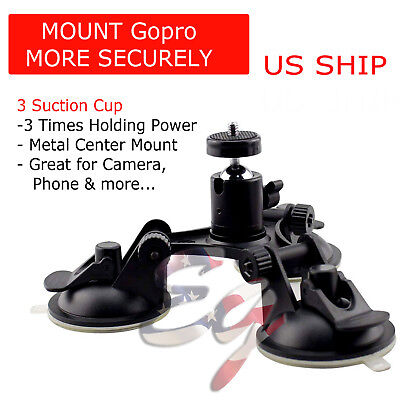 Car Windshield Tripod Mount for GoPro DSLR SLR Cam Heavy Duty Triple Suction Cup