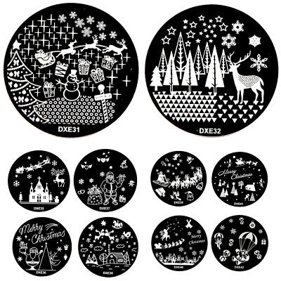 Nail Art Stamping Christmas Theme Stencil Manicure Diy Template