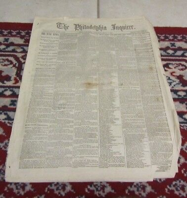 July 8 1862 Philadelphia Inquirer Newspaper Civil War News Attack on Vicksburg